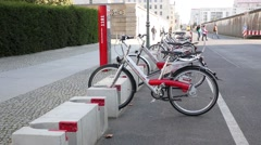 Public bike rental in Berlin - stock footage