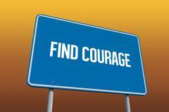 Stock Illustration of Find courage against orange sky