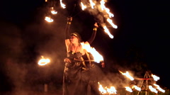 VINNITSA, UKRAINE - SEPTEMBER 21: Fire show on the day of the city. Stock Footage