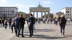 Tourists at the Brandenburg Gate in Berlin, Germany - stock footage