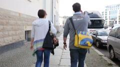 Tourists walking on the street in Berlin - stock footage