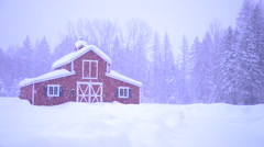 Winter Snow Red Barn In The Country Stock Footage