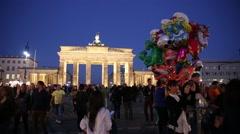Berlin at night near Brandenburg Gate - stock footage