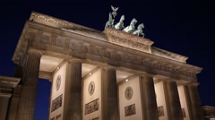 Berlin Brandenburg Gate at night - stock footage
