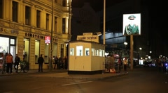 Checkpoint Charlie in Berlin Germany at night - stock footage