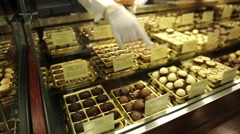 Inside a famous chocolate store Fassbender & Rausch in Berlin Germany Stock Footage