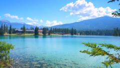 4K Crystal Clear Lake Water, Summer Day, Fairmont Jasper Park Lodge Stock Footage