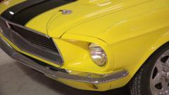 Yellow sports car closeup. Front view. HD. 50fps Stock Footage