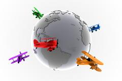 Global aviation with toy planes - stock illustration
