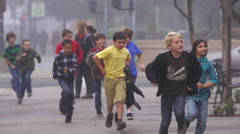 School Children Running on a Foggy Day Field Trip in Slow Motion - stock footage