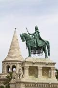 Fishermans bastion and the Statue of Saint Stephen - stock photo