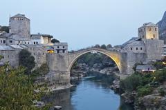 Stock Photo of Old Bridge in Mostar at night, Bosnia and Herzegovina