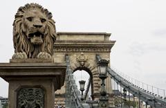 The Chain Bridge in Budapest, Sightseeing in Hungary - stock photo