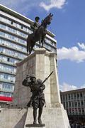 Ankara, City center, Ulus square, statue of Ataturk on horse, Turkey Stock Photos