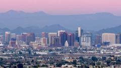 Stock Video Footage of Phoenix Skyline at Sunset