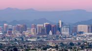 Stock Video Footage of Phoenix Skyline at Sunset