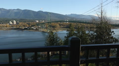 Lions Gate Bridge, Burrard Inlet, Vancouver Stock Footage