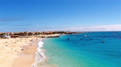 Aerial view of Santa Maria beach in Sal Cape Verde - Cabo Verde Stock Footage