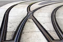 Intersection of tram rails Stock Photos