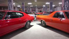 Retro vintage American cars of the last century on display Stock Footage