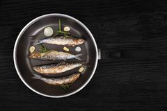 Grilled anchovy fish on pan. Stock Photos