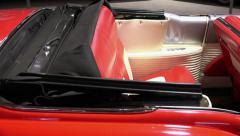 Car CADILLAC ELDORADO 1954 red convertible. Top view. 50 fps - stock footage
