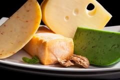 culinary cheese variation close up. - stock photo