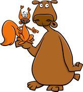 Stock Illustration of bear and squirrel cartoon illustration