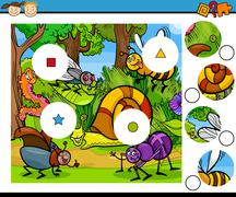 match pieces game cartoon - stock illustration