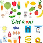 Healthy lifestyle, a healthy diet and daily routine - stock illustration