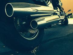 Motorcycle chrome pipes Stock Photos