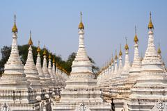 Kuthodaw Pagoda, the World's Largest Book, in Mandalay, Myanmar Stock Photos