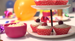 A nicely laid out table for a childrens party Stock Footage