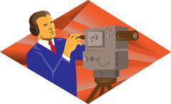 cameraman operator with vintage video camera - stock illustration