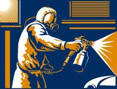spray painter painting spraying retro - stock illustration