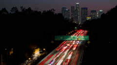 HD 110 Freeway and Downtown Los Angeles Timelapse Night Stock Footage