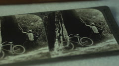 Close up of antique faded photograph of bikes Stock Footage