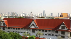 Bangkok Distant view of Sahon with near historical buildings Stock Footage