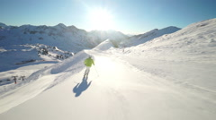 Sunshine skiing  slow motion Stock Footage