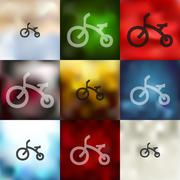 childrens bike icon on blurred background - stock illustration
