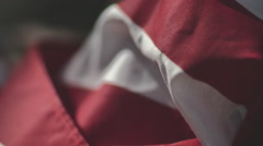 Closeup Of Red And White Stripes Of The American Flag - stock footage