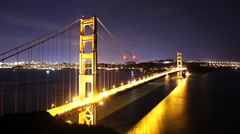 4K Time Lapse of Star Trails over Golden Gate Bridge into Sunrise -Tilt Up- Stock Footage