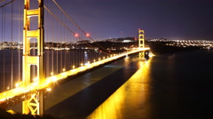4K Time Lapse of Star Trails over Golden Gate Bridge into Sunrise -Pan Left- Stock Footage