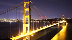 4K Time Lapse of Star Trails over Golden Gate Bridge into Sunrise -Close Up- Stock Footage
