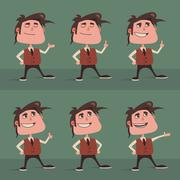 Funny cartoon little man standing and explaining, set of different poses Stock Illustration