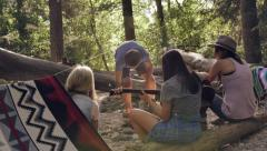Group Of Friends Gathered At A Campsite, Playing Guitar, Chatting, Building Fire Stock Footage
