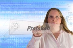 Woman squeezes touch screen Button Protocol - stock illustration