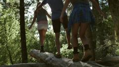 Girl Leads Her Friends Down A Log, Away From Camera (Lens Flare, Slow Motion) Stock Footage