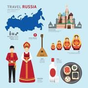travel concept russia landmark flat icons design .vector illustration - stock illustration