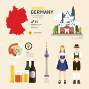 Travel concept germany landmark flat icons design .vector illustration Stock Illustration